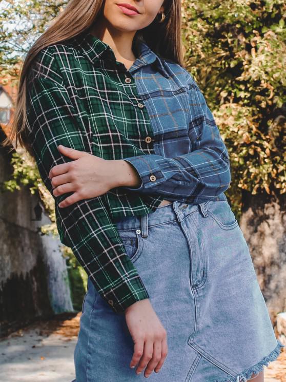 Button Down Contrast Plaid Shirt Jacket - أخضر XL