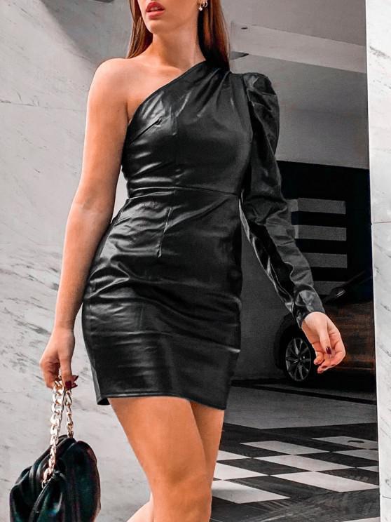 womens One Shoulder Faux Leather Gigot Sleeve Sheath Dress - BLACK L