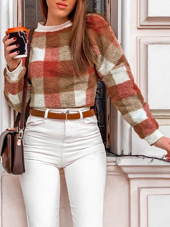 latest Contrast Plaid Loose Faux Fur Sweatshirt - MULTI M