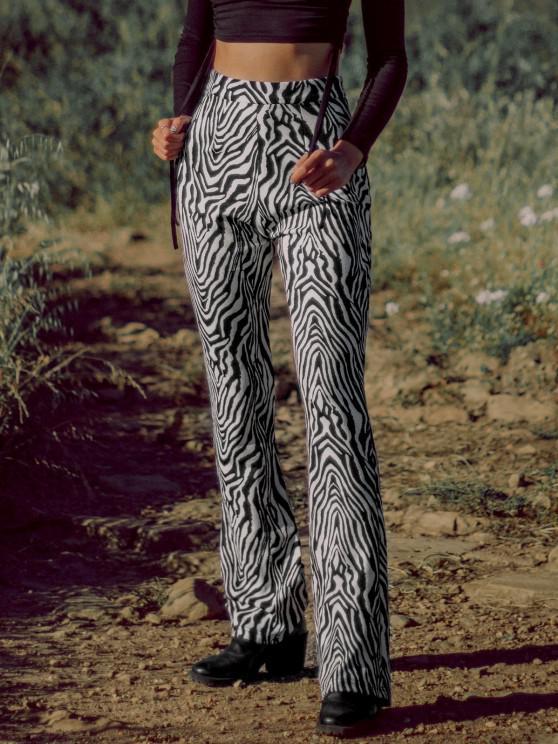women Zebra Print Flare Pants - BLACK XL