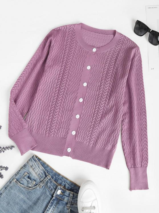 best Crew Neck Button Up Pointelle Knit Cardigan - PURPLE ONE SIZE
