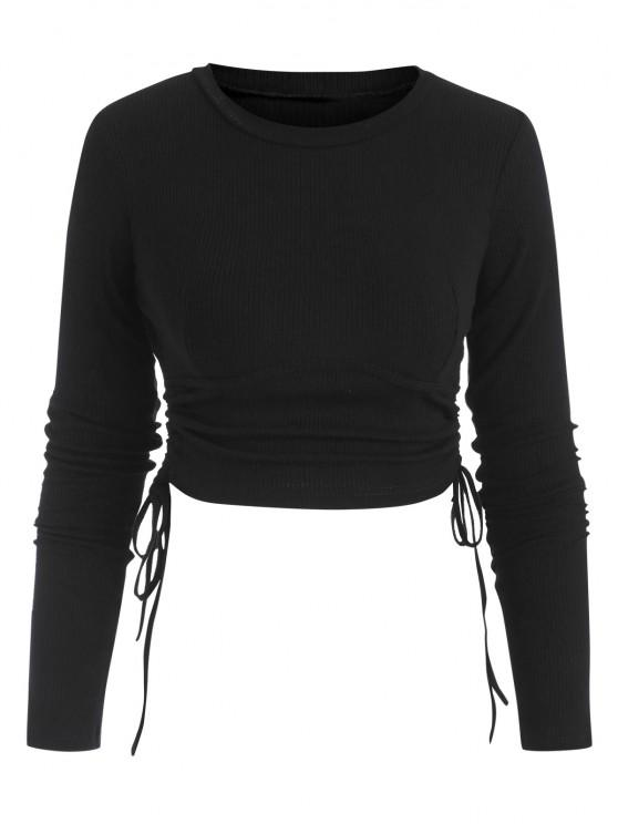 women Ribbed Side Cinched Crop Top - BLACK S