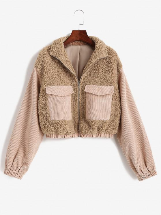women ZAFUL Zip Up Corduroy Panel Fluffy Combo Jacket - LIGHT COFFEE S