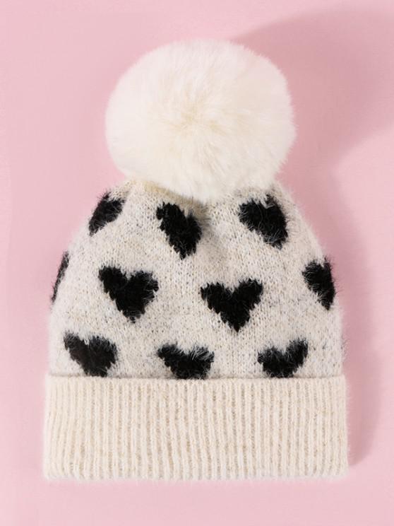 trendy Heart Pattern Pompon Knit Hat - BEIGE