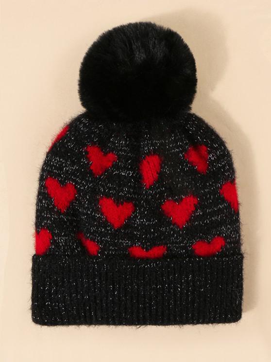 Heart Pattern Pompon Knit Hat - أسود