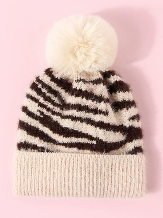 best Zebra Pattern Pompon Knit Hat - BLONDE