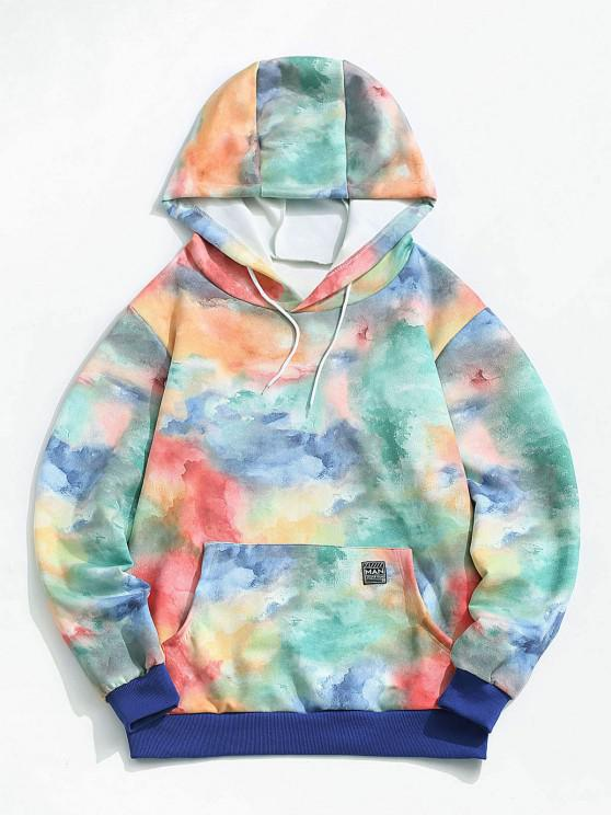 ZAFUL Colorful Tie Dye Print Applique Detail Hoodie - متعدد L
