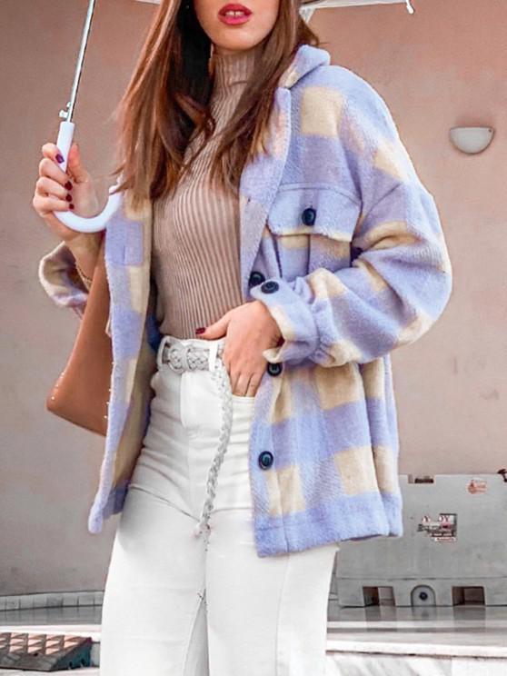 shop ZAFUL Checkered Drop Shoulder Pocket Coat - LIGHT PURPLE S