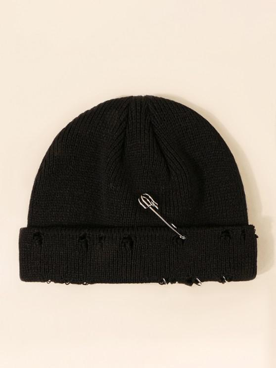 outfits Needle Metal Ring Design Ripped Knit Hat - BLACK