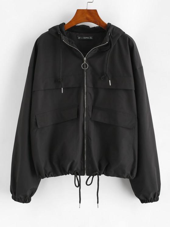 fashion ZAFUL Hooded Full Zip Windbreaker Cargo Jacket - BLACK M