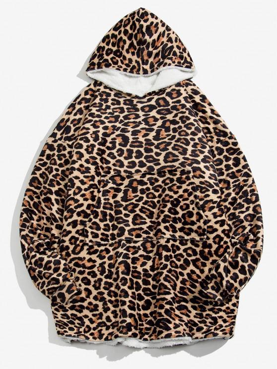 Manta y Sudadera con Capucha Lana Estampado Leopardo - Leopardo Talla única
