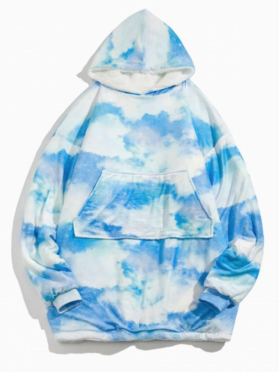 Cloud Tie Dye Print Fleece Blanket Hoodie - سماء الأزرق مقاس واحد