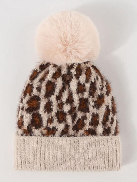 shop Leopard Pattern Pompon Knit Hat - LEOPARD