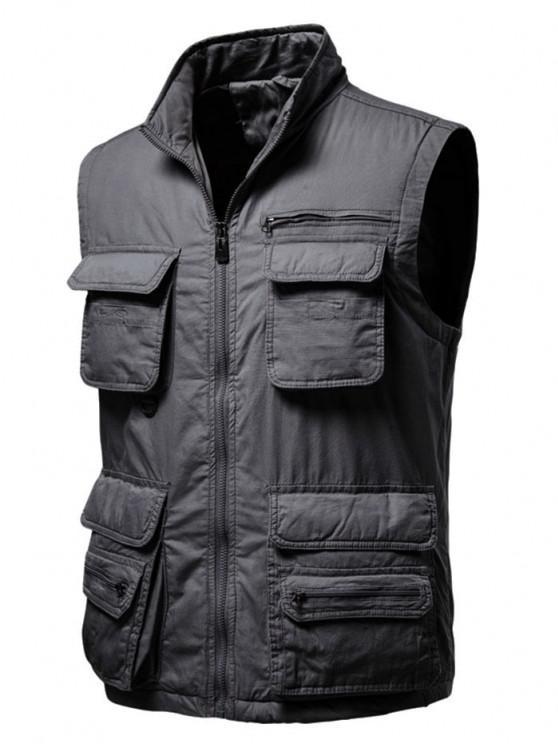 womens Zip Up Multi Pockets Padded Vest - DARK GRAY M