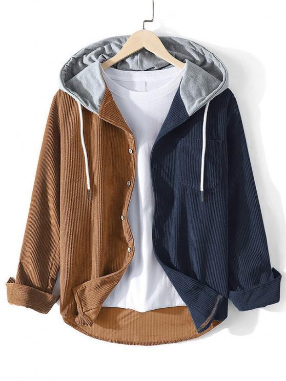 women Corduroy Colorblock Panel Hooded Shirt - DEEP COFFEE XL