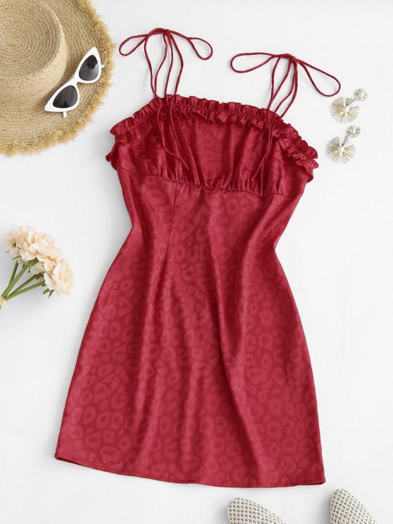 trendy Leopard Tie Shoulder Lettuce Trim Bodycon Dress - RED M