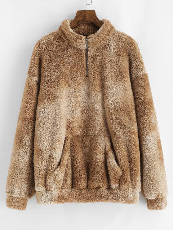 ZAFUL Quarter Zip Front Pocket Fluffy Tie Dye Sweatshirt - القهوة الخفيفة M