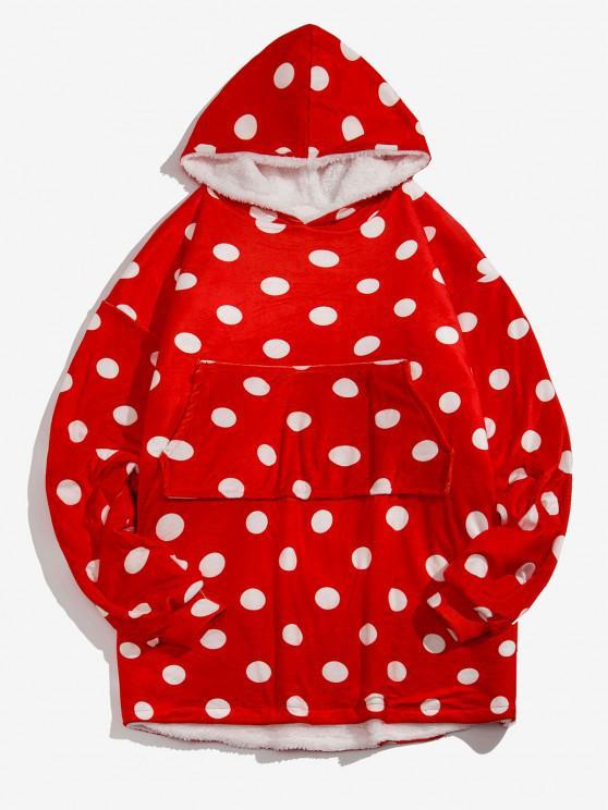 best Polka Dot Print Fleece Blanket Hoodie - RED ONE SIZE
