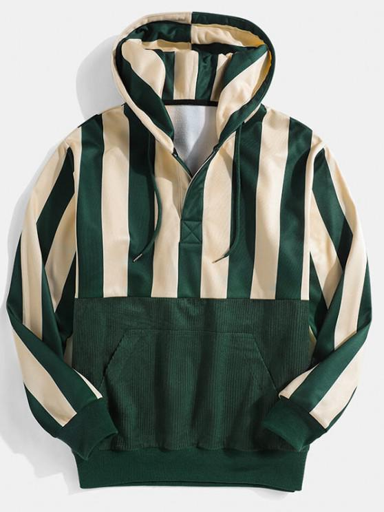 fancy Striped Print Front Pocket Drawstring Hoodie - DEEP GREEN L