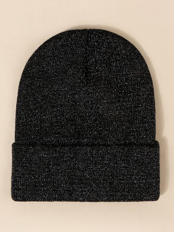 lady Glitter Silk Design Knit Hat - BLACK