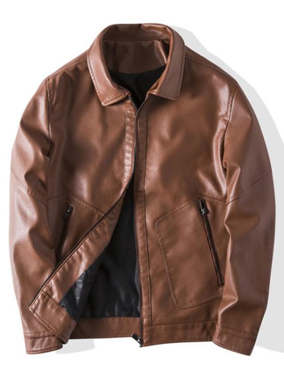 unique Faux Leather Zipper Pocket Jacket - BROWN XS