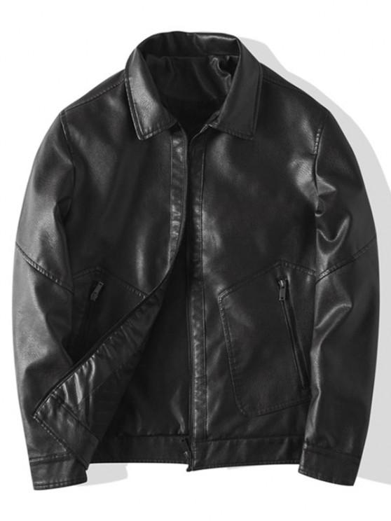 ladies Faux Leather Zipper Pocket Jacket - BLACK M