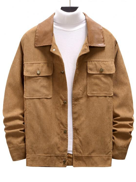 outfits Double Pockets Ribbed Corduroy Jacket - CAMEL BROWN XXL