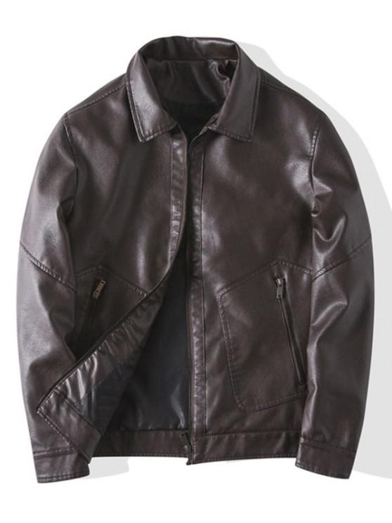 hot Faux Leather Zipper Pocket Jacket - COFFEE L