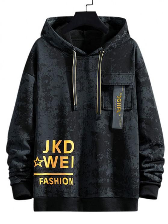 Tie Dye Graphic Flap Pocket Drawstring Hoodie - أسود S
