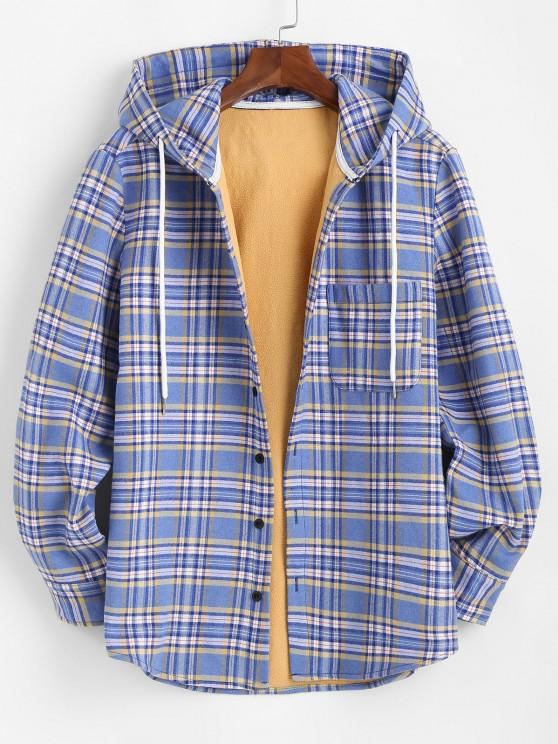 unique Plaid Print Button Up Hooded Pocket Fleece Jacket - LIGHT BLUE M