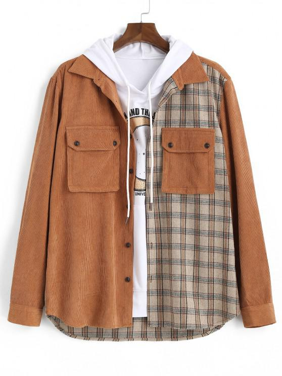 Plaid Pattern Double Pockets Button Up Jacket - قهوة XL