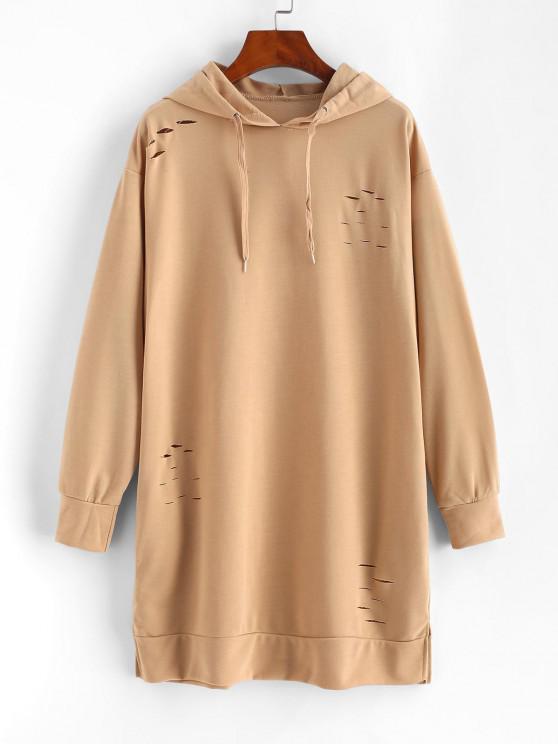Robe à Capuche Déchirée Fendue avec Poche à Manches Longues - café lumière S