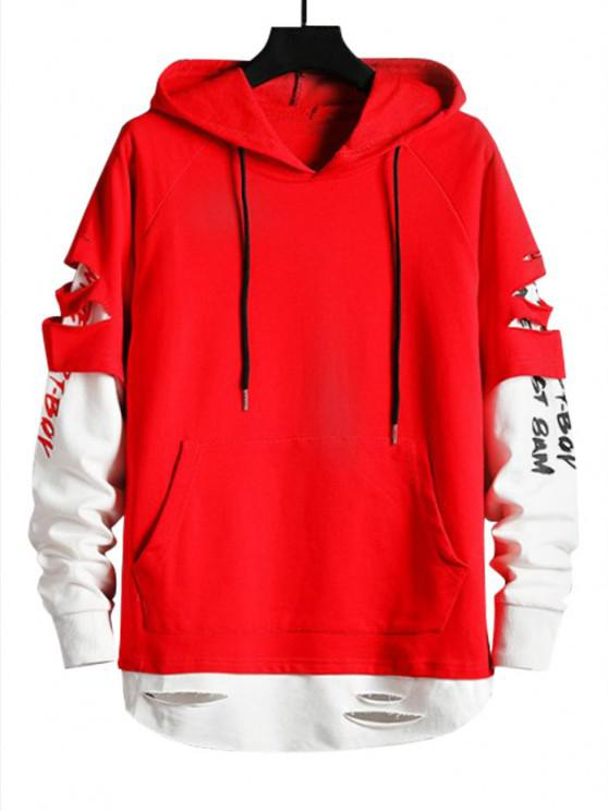 ladies Ripped Graphic Doctor Sleeve Kangaroo Pocket Hoodie - LAVA RED S