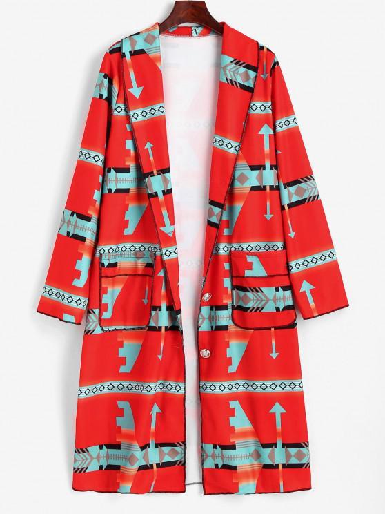 Shawl Collar Geo Pattern Longline Coat - أحمر 2XL