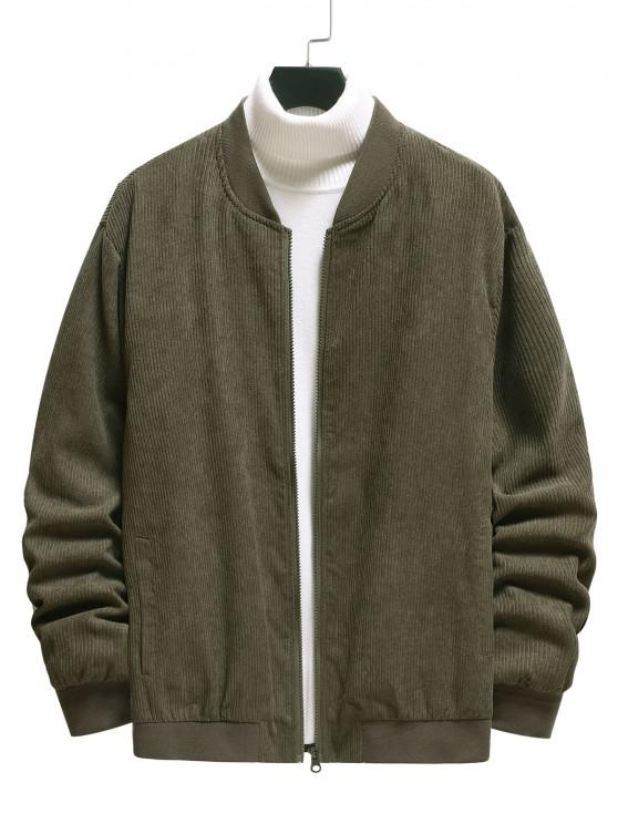 women's Elbow Patch Ribbed Corduroy Jacket - ARMY GREEN L