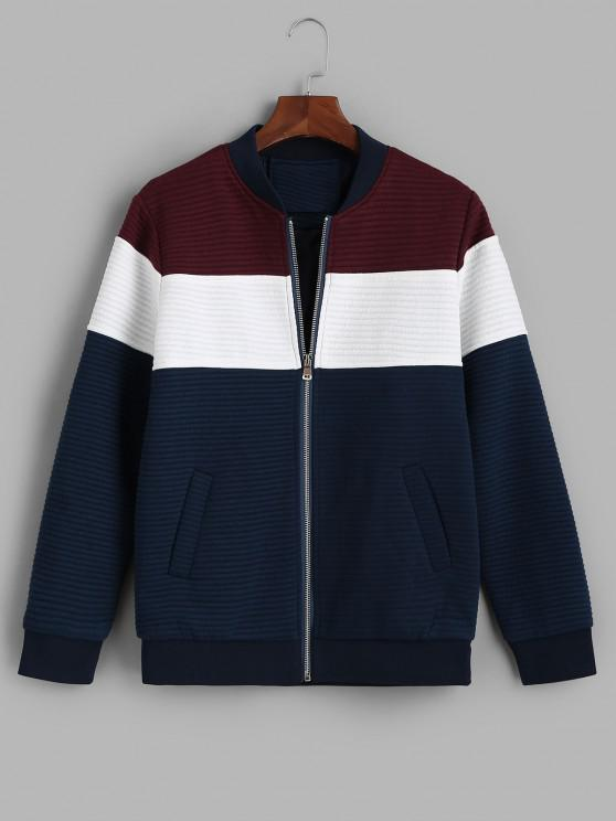 best Zip Up Contrast Ribbed Jacket - RED WINE XS