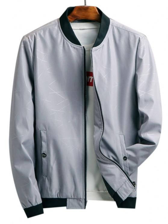 fancy Zip Up Printed Pocket Elastic Hem Jacket - LIGHT GRAY L