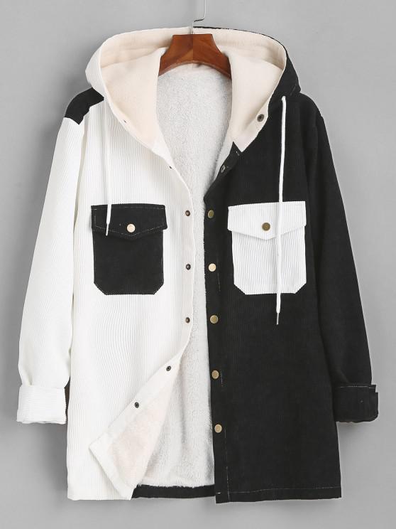 ladies Hooded Double Pockets Contrast Fleece Corduroy Jacket - BLACK L