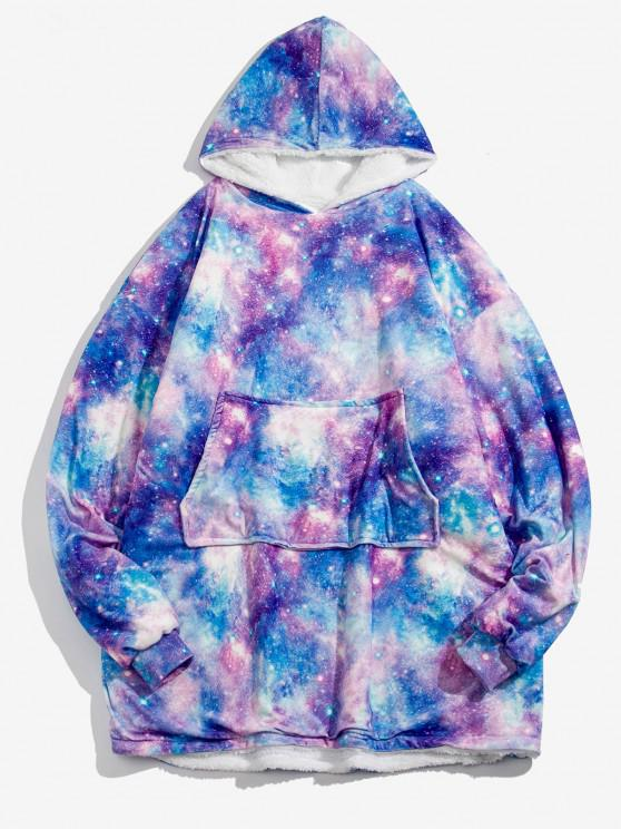 Galaxy Print Fleece Blanket Hoodie - سديم حجم واحد