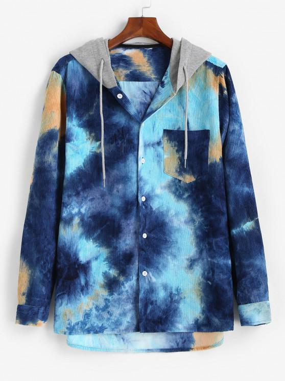 womens Hooded Tie Dye Pattern Pocket Corduroy Jacket - BLUE XL