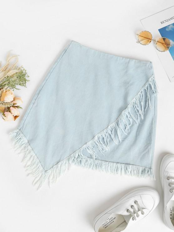 affordable Frayed Overlap Denim Mini Skirt - LIGHT BLUE L