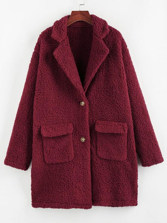 ZAFUL Faux Fur Drop Shoulder Pocket Lapel Coat - نبيذ احمر L