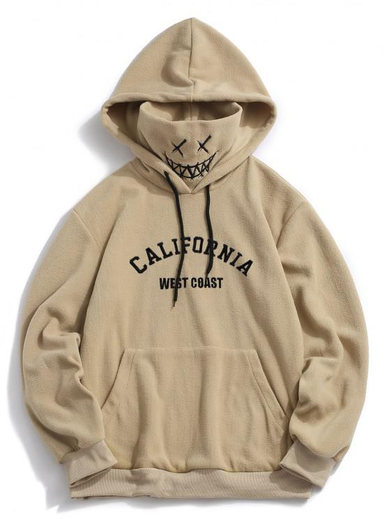 unique ZAFUL Letter Graphic Embroidered Fleece Mask Hoodie - KHAKI XL