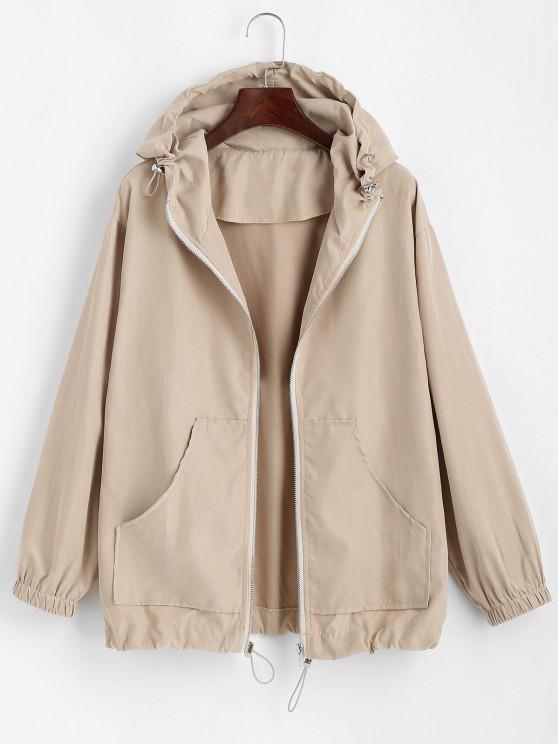 Hooded Front Pocket Drawstring Jacket - القهوة الخفيفة L