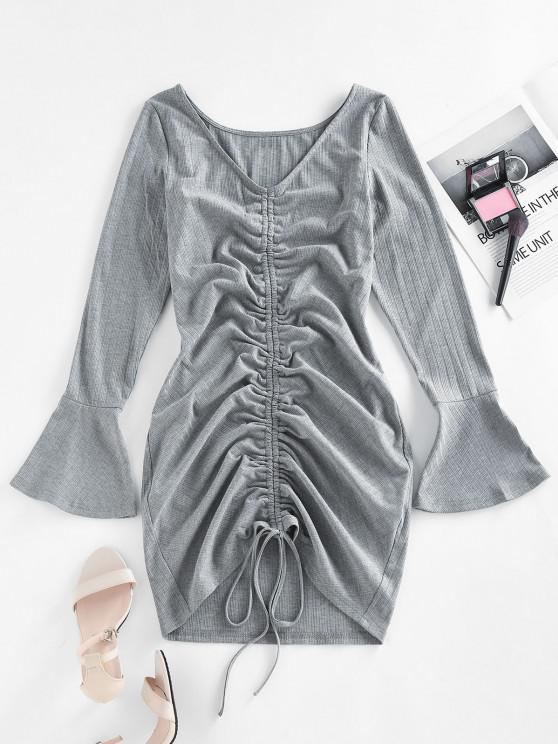 womens ZAFUL Ribbed Cinched Flare Sleeve Mini Dress - GRAY S