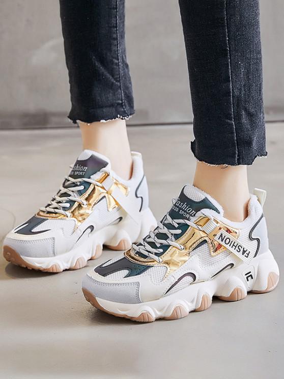 hot Colorblock Casual Fluffy Sports Sneakers - BEIGE EU 39