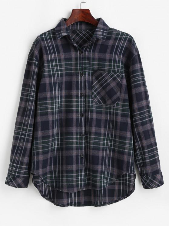outfits Plaid Pocket Button Up Shirt - MIDNIGHT BLUE M