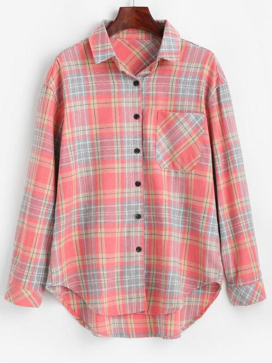 Plaid Pocket Button Up Shirt - البطيخ الوردي S