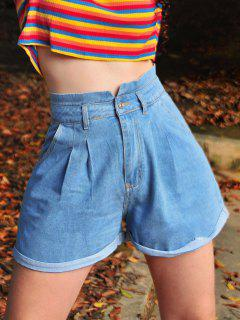 Pleated Cuffed Denim Shorts - Blue L
