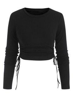Ribbed Side Cinched Crop Top - Black S